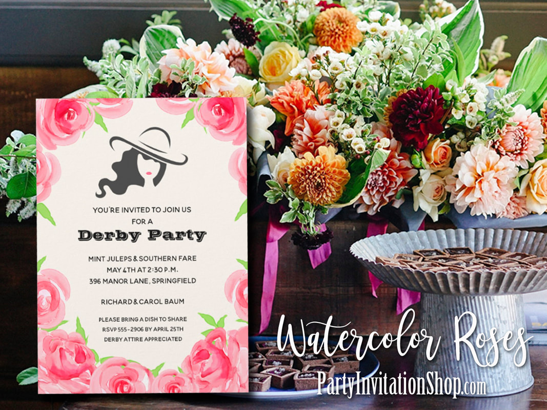 Big Hat Lady Roses Derby Party Invitations Party Invitation Shop
