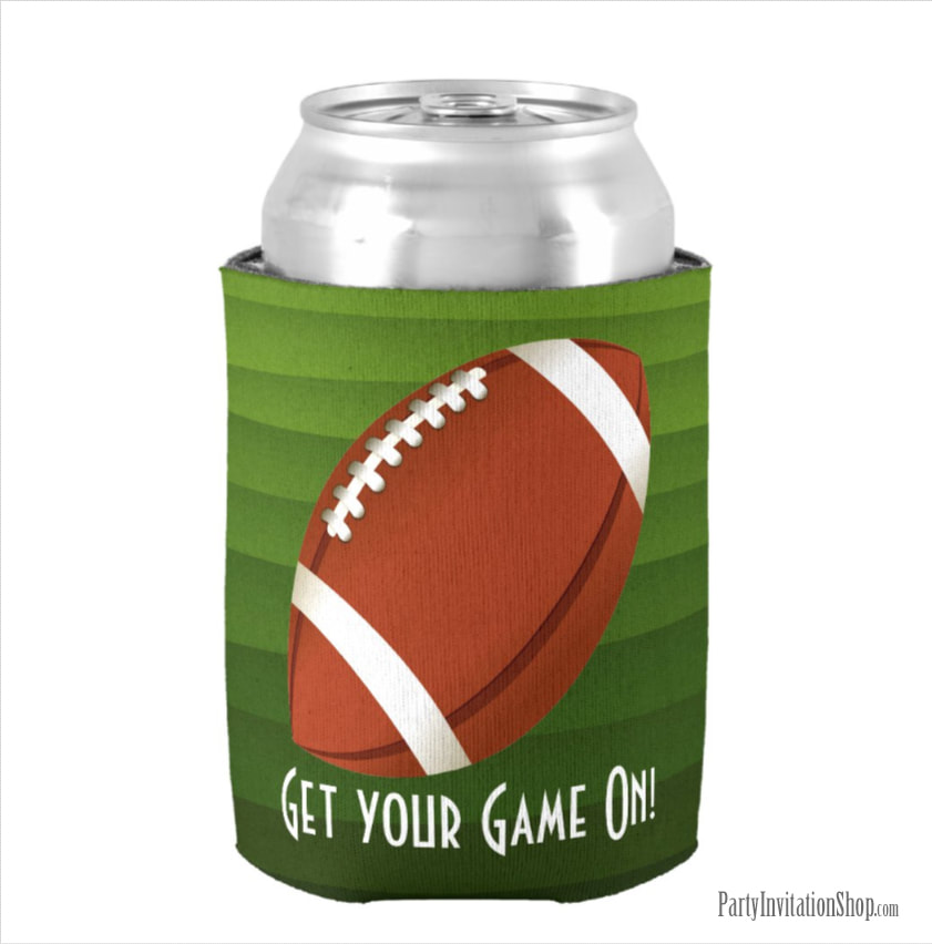 American Football on Green Stripes Super Bowl Party Can Koozie Coolers at PartyInvitationShop.com