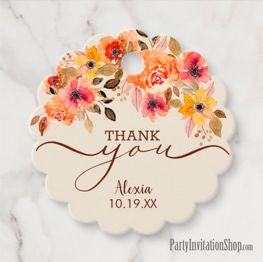 Fall Floral Swag Shower Thank You Tags