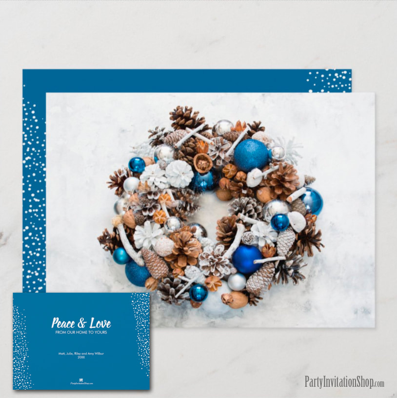 Blue White Pine Cone Wreath Christmas Holiday Greeting Cards