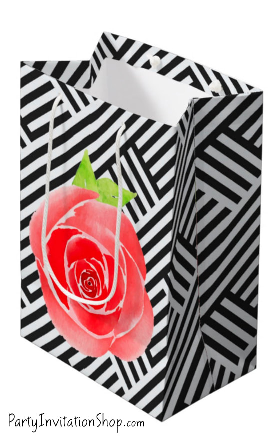 Red Roses and Boxed Stripes Kentucky Derby Gift Bags in 4 sizes - Party Favor Boxes and party supplies in several designs. PartyInvitationShop.com