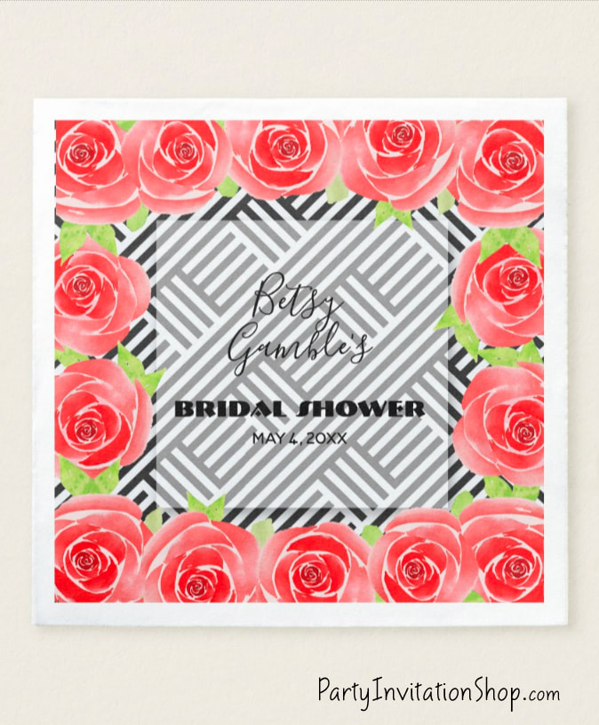 Paper Napkins: Boxed Stripes & Red Roses Kentucky Derby Party Supplies PLUS invitations, favors, and more.