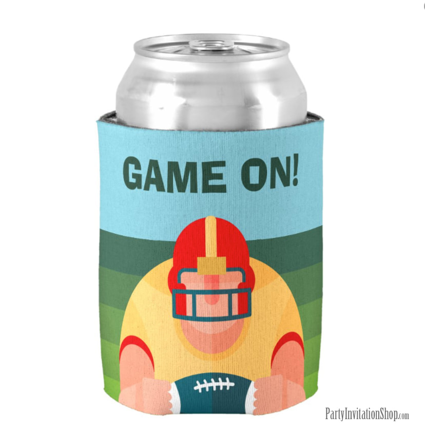 Burly American Football Player Super Bowl Party Can Koozie Coolers at PartyInvitationShop.com