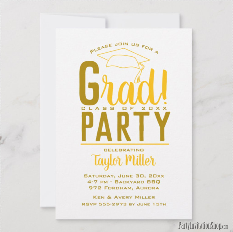 RAD graduation party invitations or graduation announcements in your school colors with a grad cap on the top, just change the wording to fit your event. Michigan Wolverines colors of blue and maize yellow. Use for college or high school graduation. LOTS OF COLOR combinations already pre-made ready to personalize with your information. Shop PartyInvitationShop.com