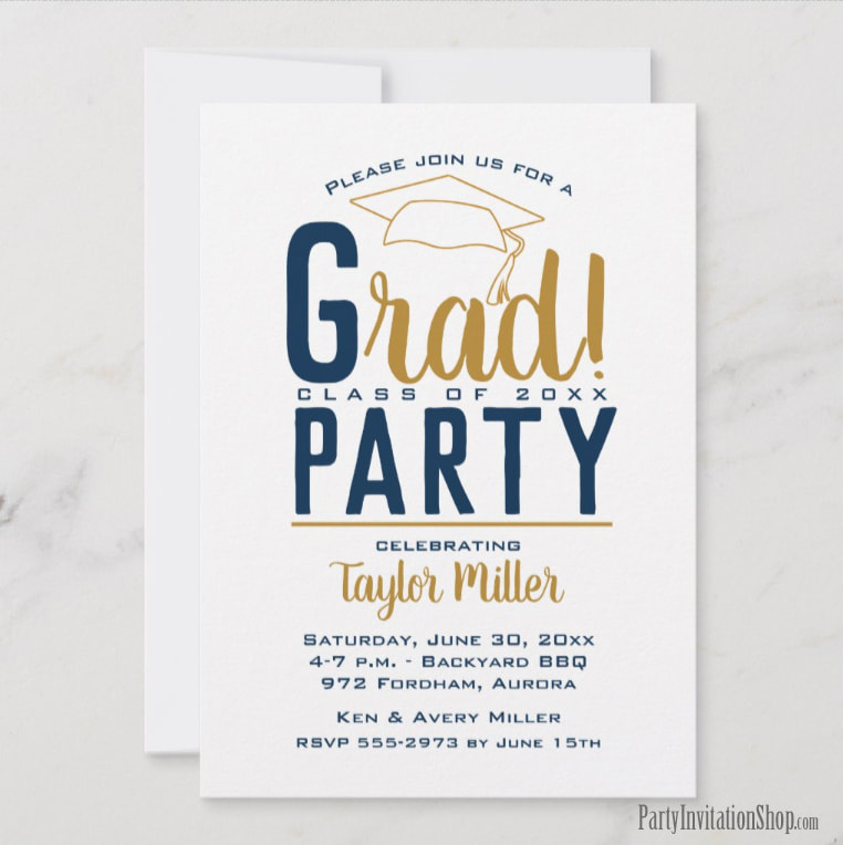 RAD graduation party invitations or graduation announcements in your school colors with a grad cap on the top, just change the wording to fit your event. Michigan State Spartans colors of green, white and gray.   Use for college or high school graduation. LOTS OF COLOR combinations already pre-made ready to personalize with your information. Shop PartyInvitationShop.com