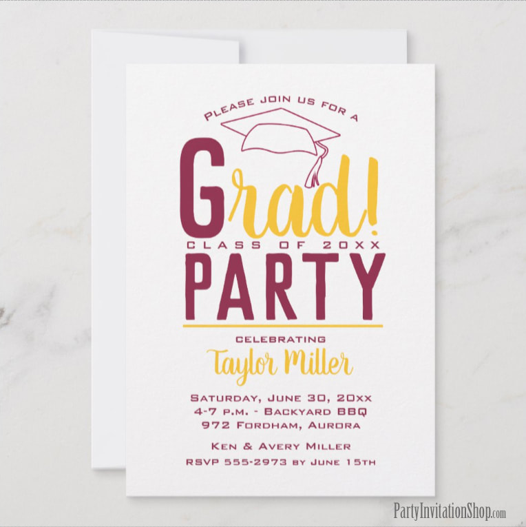 RAD graduation party invitations or graduation announcements in your school colors with a grad cap on the top, just change the wording to fit your event. Kansas State Wildcat colors of purple, white and gray.  Use for college or high school graduation. LOTS OF COLOR combinations already pre-made ready to personalize with your information. Shop PartyInvitationShop.com