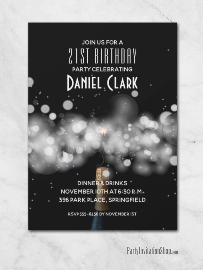 Champagne Sparkle and Fizz on Black Background Birthday Party Invitations from PartyInvitationShop.com