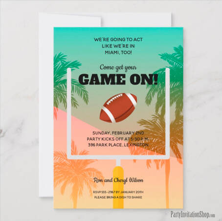 Miami Palm Trees Super Bowl Party Invitations at PartyInvitationShop.com