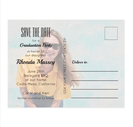 Photo Graduation Postcard Save the Date Cards and Party Invitations at PartyInvitationShop.com