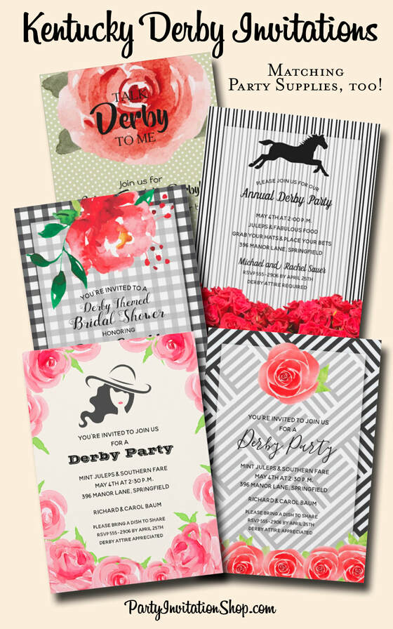 Kentucky Derby day is a fabulous way to get friends together to enjoy the race, the weather, the food and friendship. You'll find fabulous invitations as well as matching paper plates, napkins, hand fans, party favor boxes, Derby attire and more. PartyInvitationShop.com