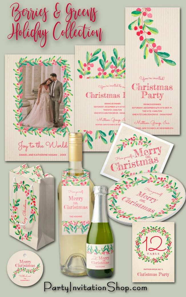 Watercolor Berries and Leaves on Ivory Christmas Holiday Collection at PartyInvitationShop.com