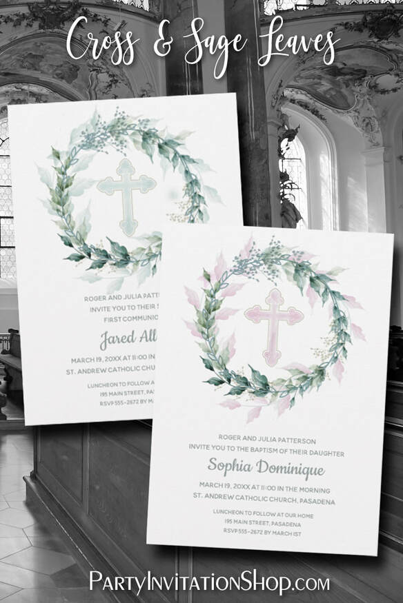 Soft watercolor wreath of sage green leaves, silver-gray flower buds around a blue, pink or sage green cross. Ideal for your child's first communion, baptism, christening or dedication. Matching items, too! PartyInvitationShop.com