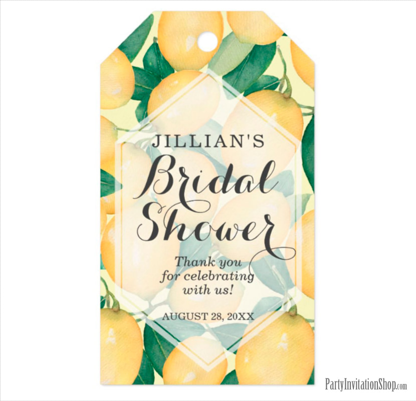 Elegant Lemons Greenery Bridal Shower Thank You Gift Tags