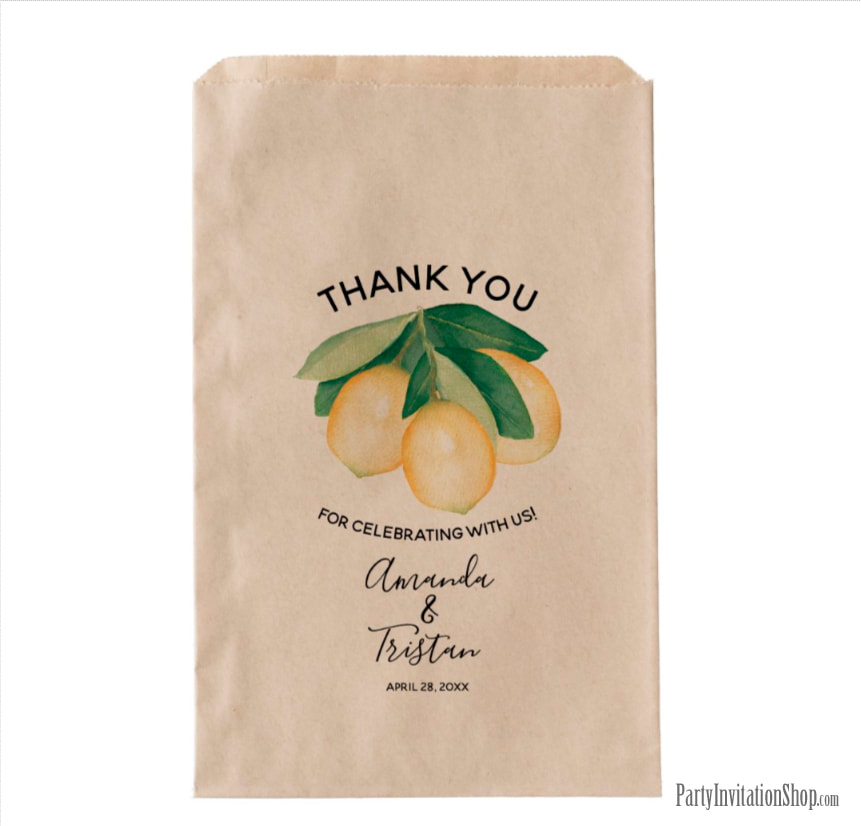 Boho Rustic Lemons and Leaves Favor Bag