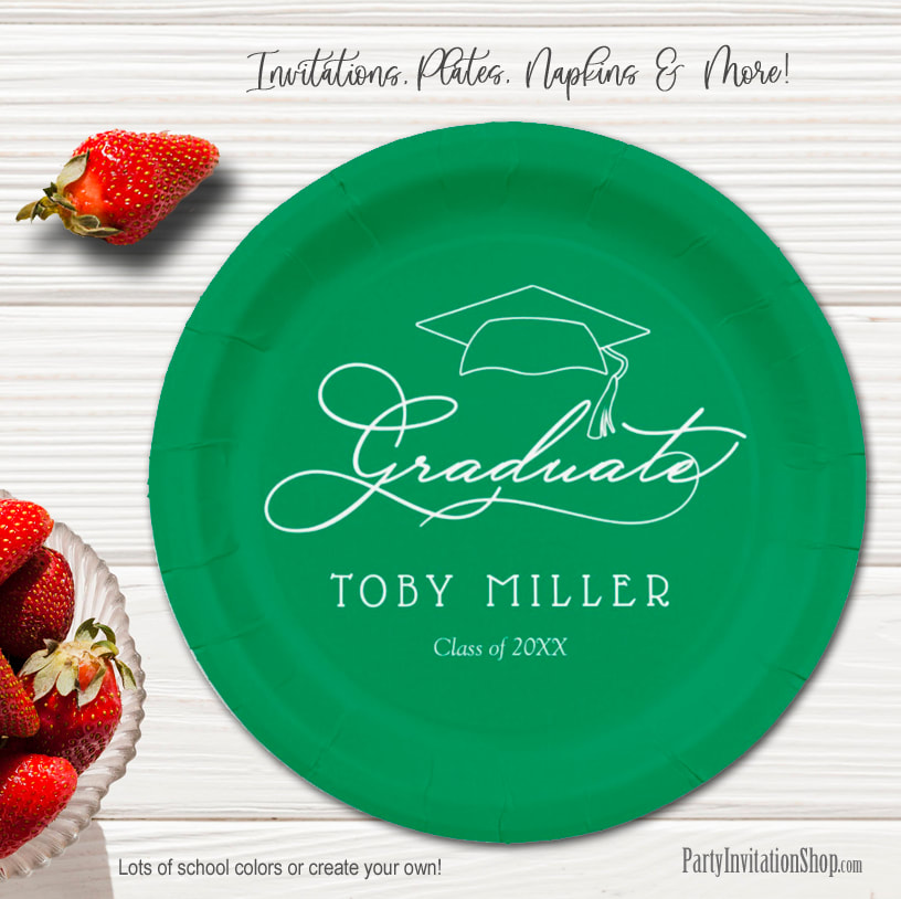 Elegant Script on Bright Green Graduation Party Paper Plates in 2 sizes