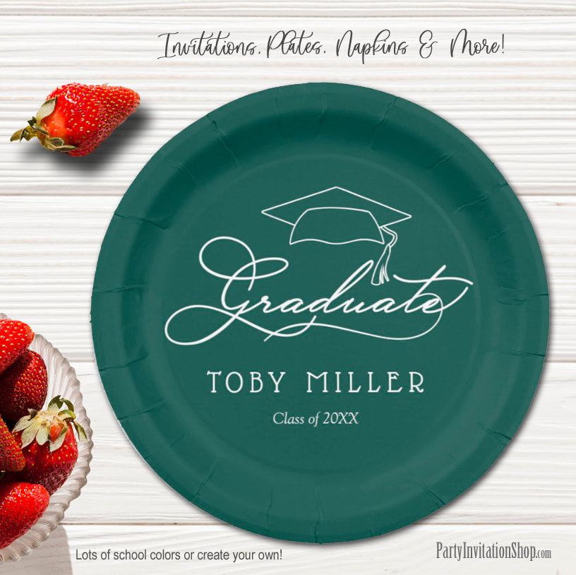 Elegant Script on Dark Green Graduation Party Paper Plates in 2 sizes