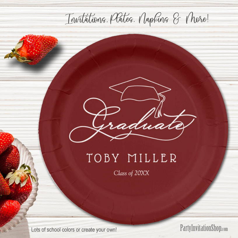 Elegant Script on Dark Maroon Graduation Party Paper Plates in 2 sizes