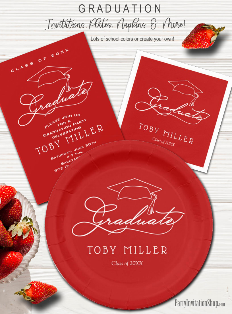 Elegant Script on Dark Red Graduation Party Invitations, Plates and Napkins