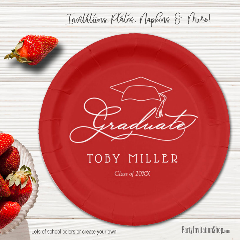 Elegant Script on Dark Red Graduation Party Paper Plates in 2 sizes