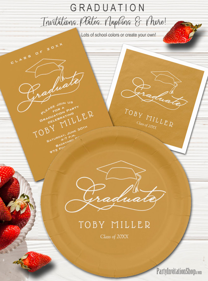 Elegant Script on Gold Graduation Party Invitations, Plates and Napkins