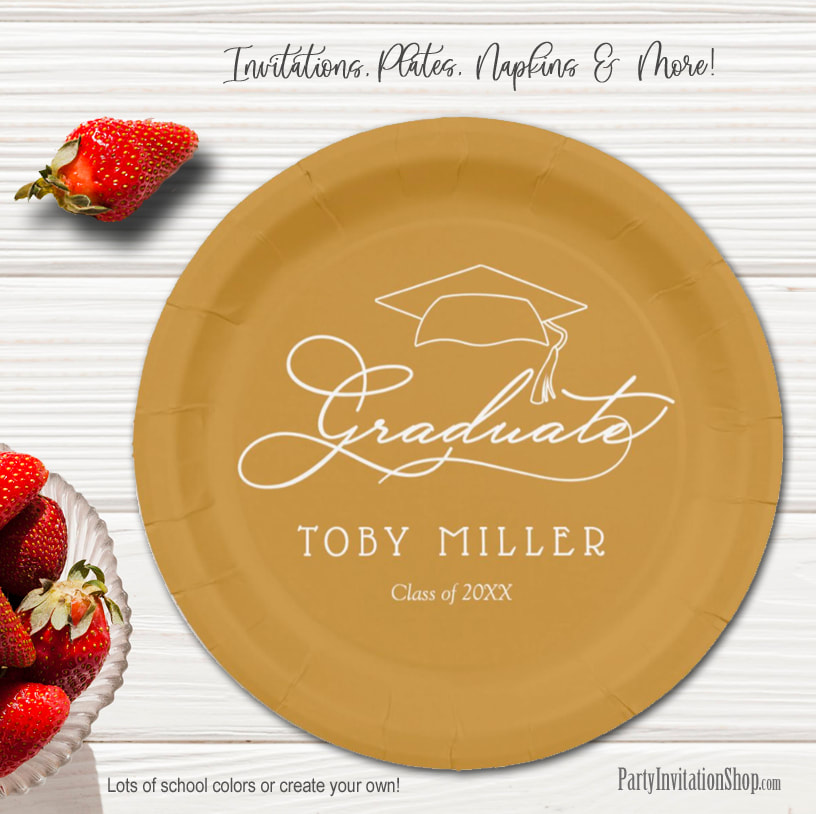 Elegant Script on Gold Graduation Party Paper Plates in 2 sizes