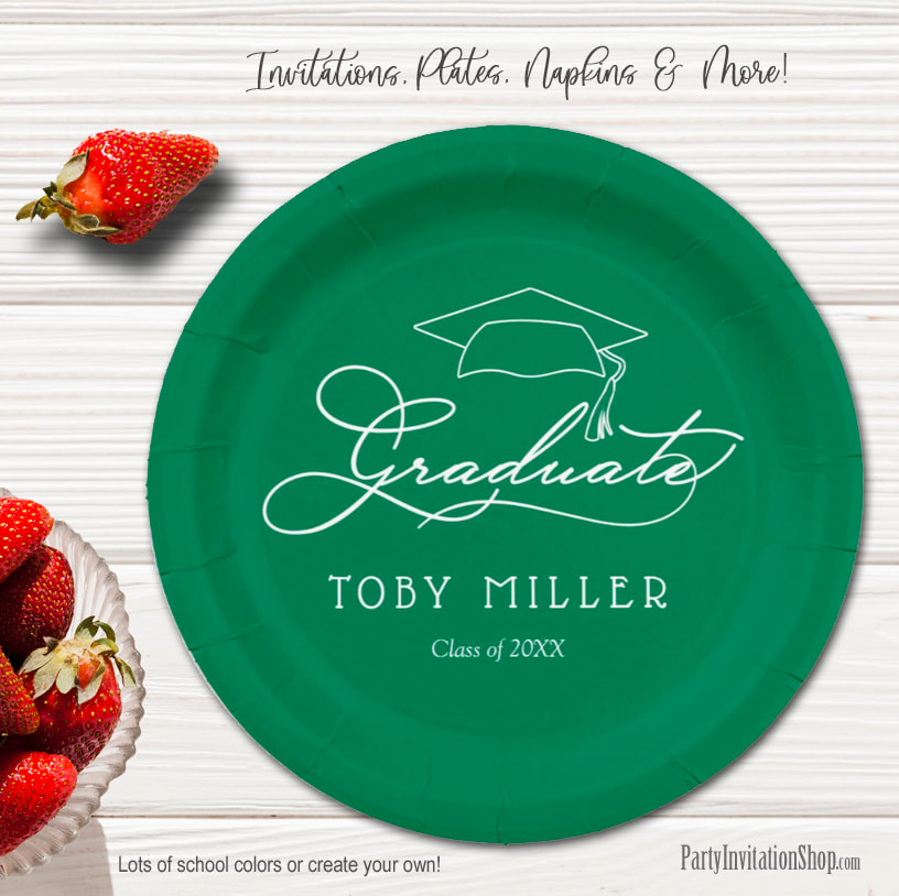 Elegant Script on Green Graduation Party Paper Plates in 2 sizes