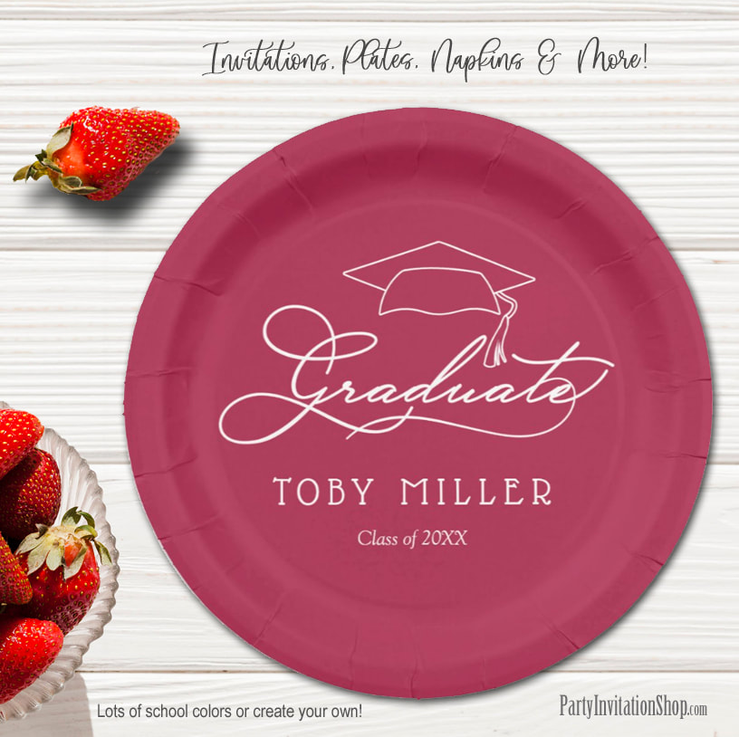 Elegant Script on Maroon Graduation Party Paper Plates in 2 sizes
