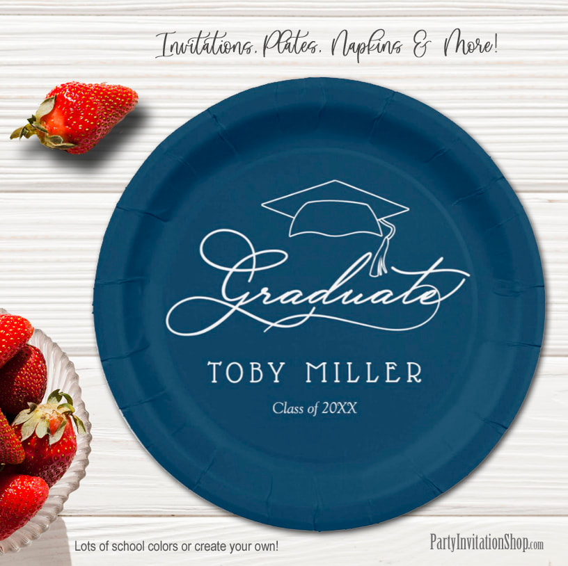 Elegant Script on Navy Blue Graduation Party Paper Plates in 2 sizes