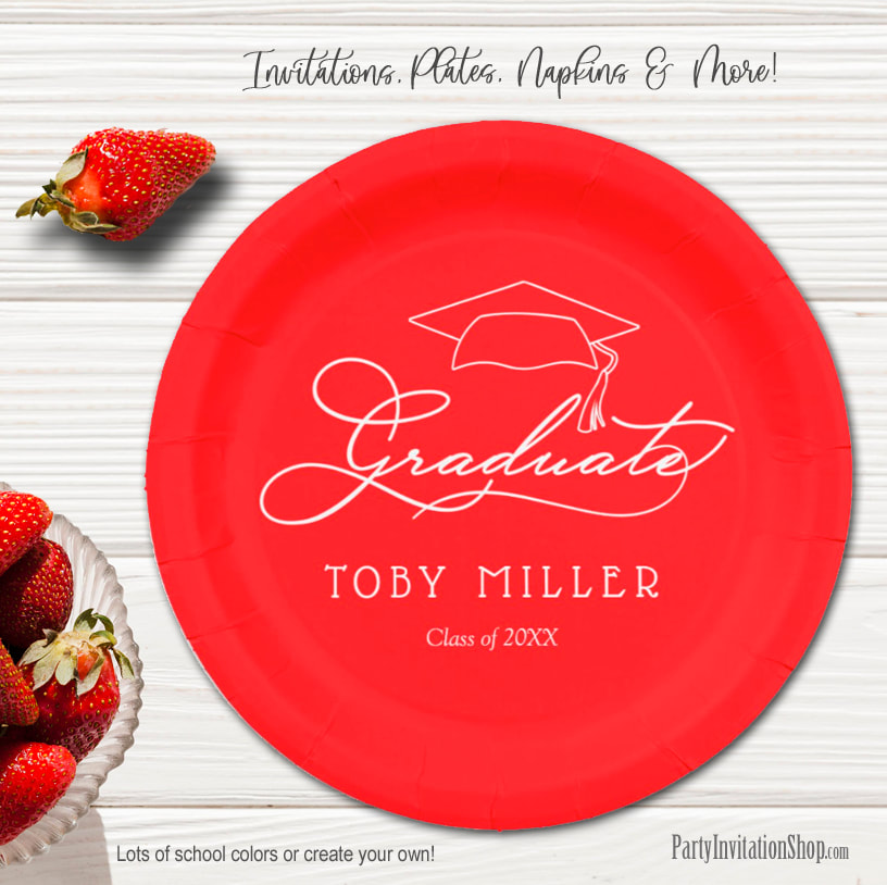 Elegant Script on Red Graduation Party Paper Plates in 2 sizes