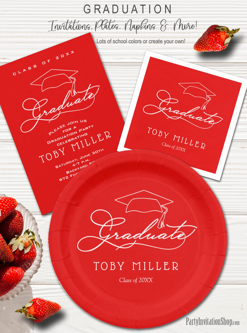 Elegant Script on Scarlet Graduation Party Invitations, Plates and Napkins