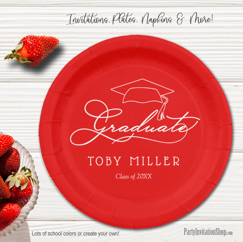 Elegant Script on Scarlet Graduation Party Paper Plates in 2 sizes