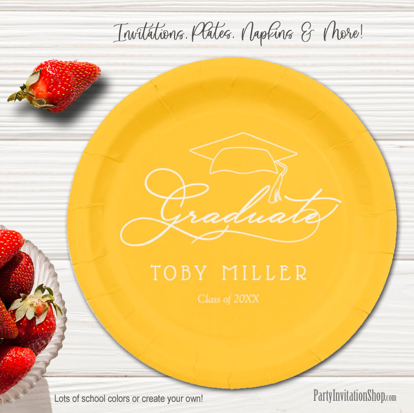 Elegant Script on Yellow Gold Graduation Party Paper Plates in 2 sizes