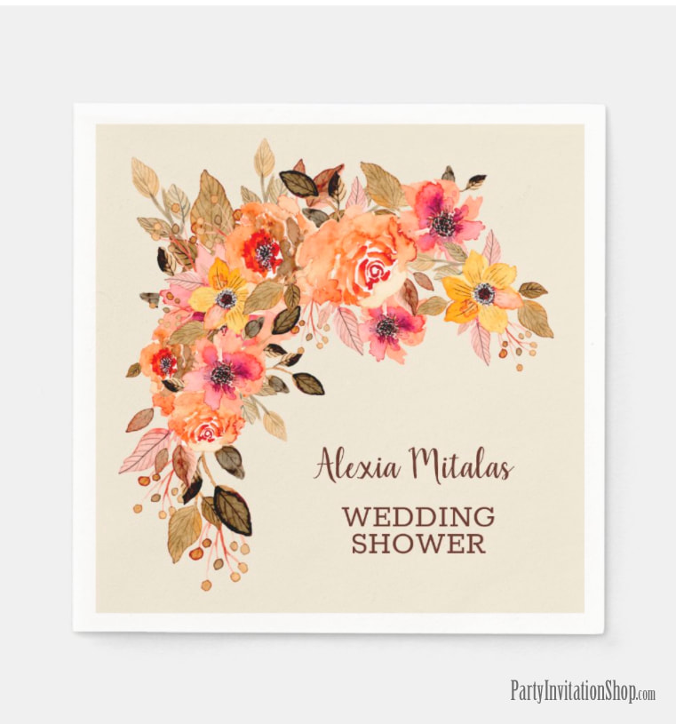 Fall Floral Bridal Shower Napkins