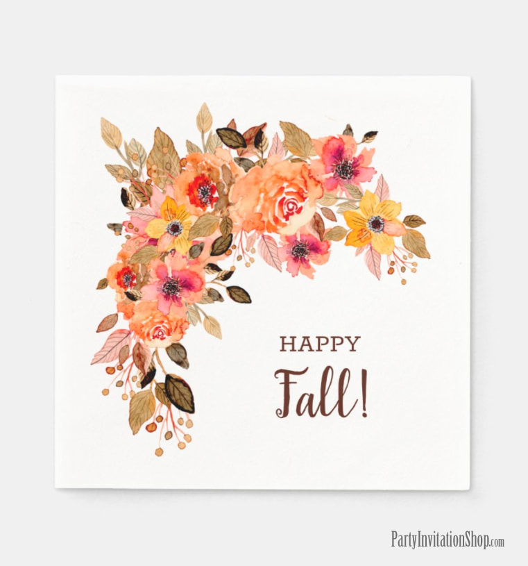 Happy Fall Autumn Flowers Napkins