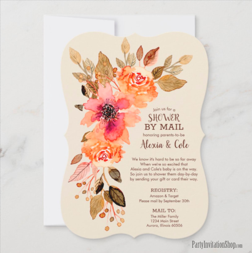 Fall Floral Baby Shower Invitations