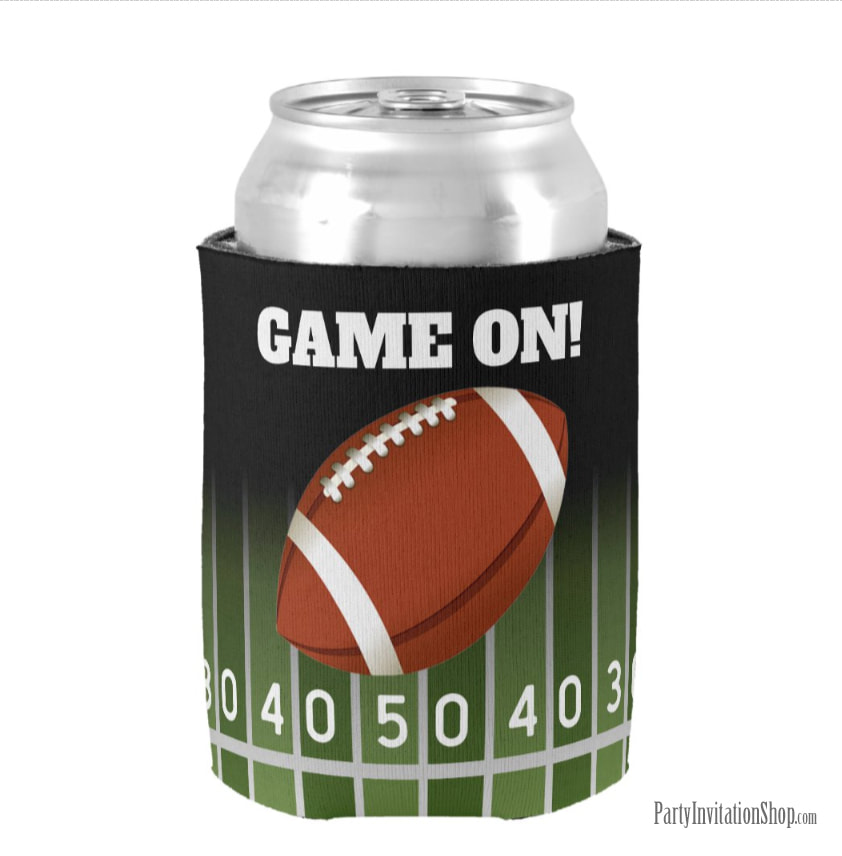 Football on Field Yardage Lines Super Bowl Party Can Koozie Coolers at PartyInvitationShop.com