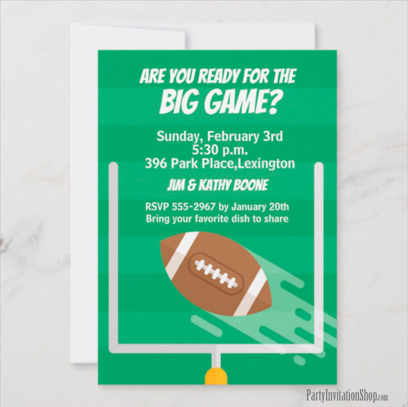 Super Bowl Party Invitations at PartyInvitationShop.com MATCHING party supplies too!