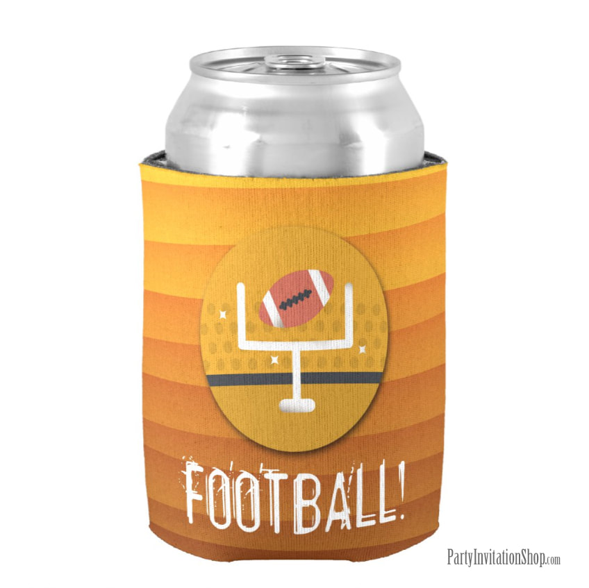 Football and Uprights Super Bowl Party Can Koozie Coolers at PartyInvitationShop.com