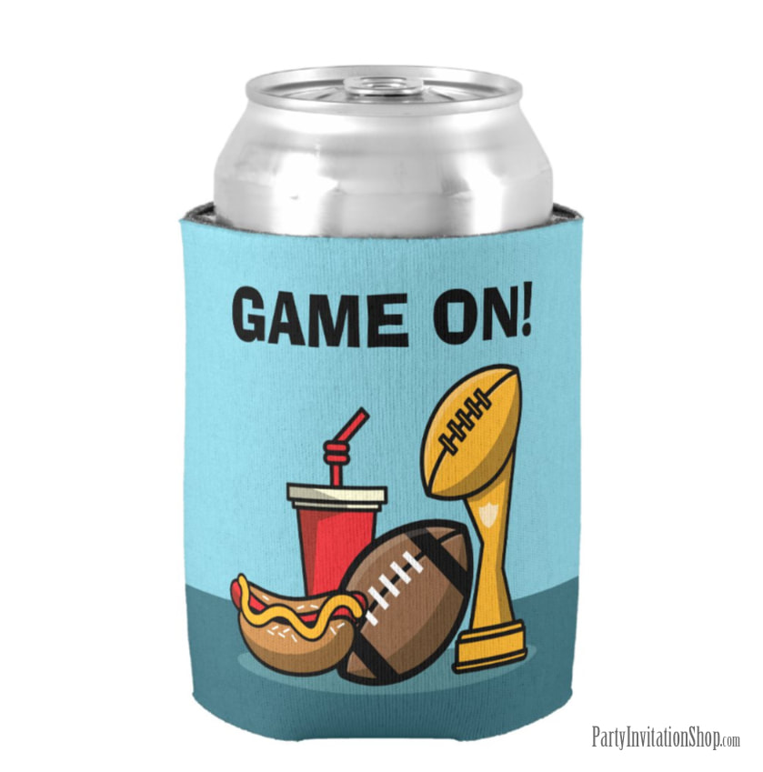 Game On Food and Football Trophy Super Bowl Party Can Koozie Coolers at PartyInvitationShop.com