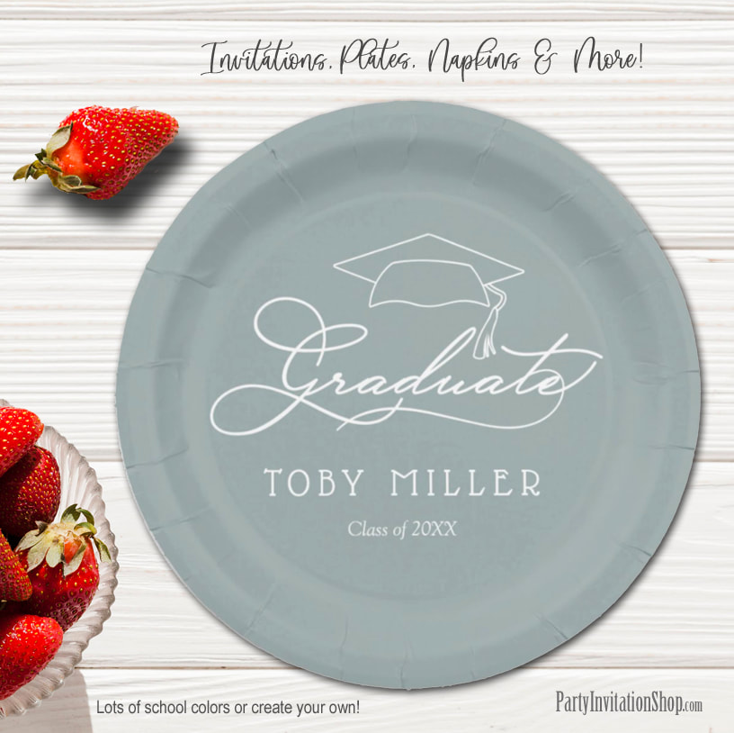 Elegant Script on Silver Gray Graduation Party Paper Plates in 2 sizes