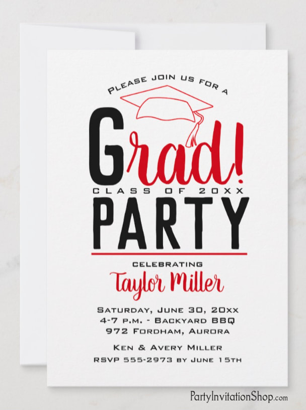 RAD graduation party invitations or graduation announcements in your school colors with a grad cap on the top, just change the wording to fit your event. Ohio State colors of scarlet and black (we have one with scarlet and gray, too.)  Use for college or high school graduation. LOTS OF COLOR combinations already pre-made ready to personalize with your information. Shop PartyInvitationShop.com