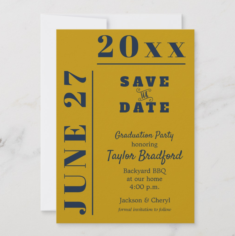 Graduation Save the Date Cards in lots of school colors OR CREATE YOUR OWN COLORS! PartyInvitationShop.com