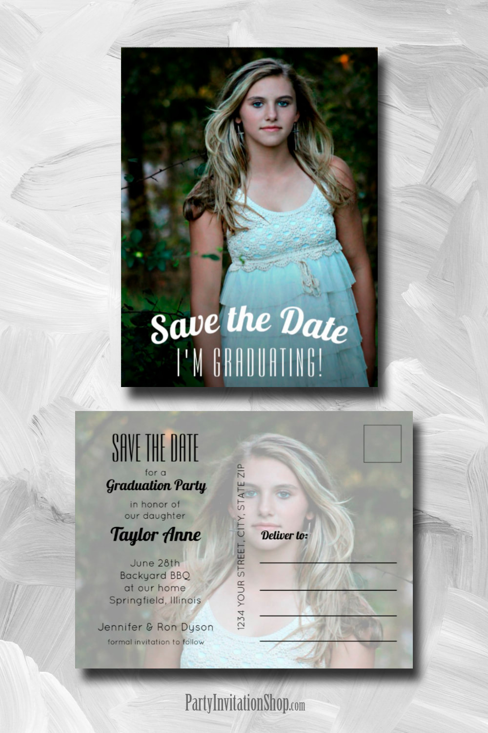 Your graduate's photo makes a perfect graduation save the date cards, party invitations or graduation announcements. We've created postcards and invitations with envelopes, the choice is yours. Upload your photo, personalize with your details and you're done! PartyInvitationShop.com