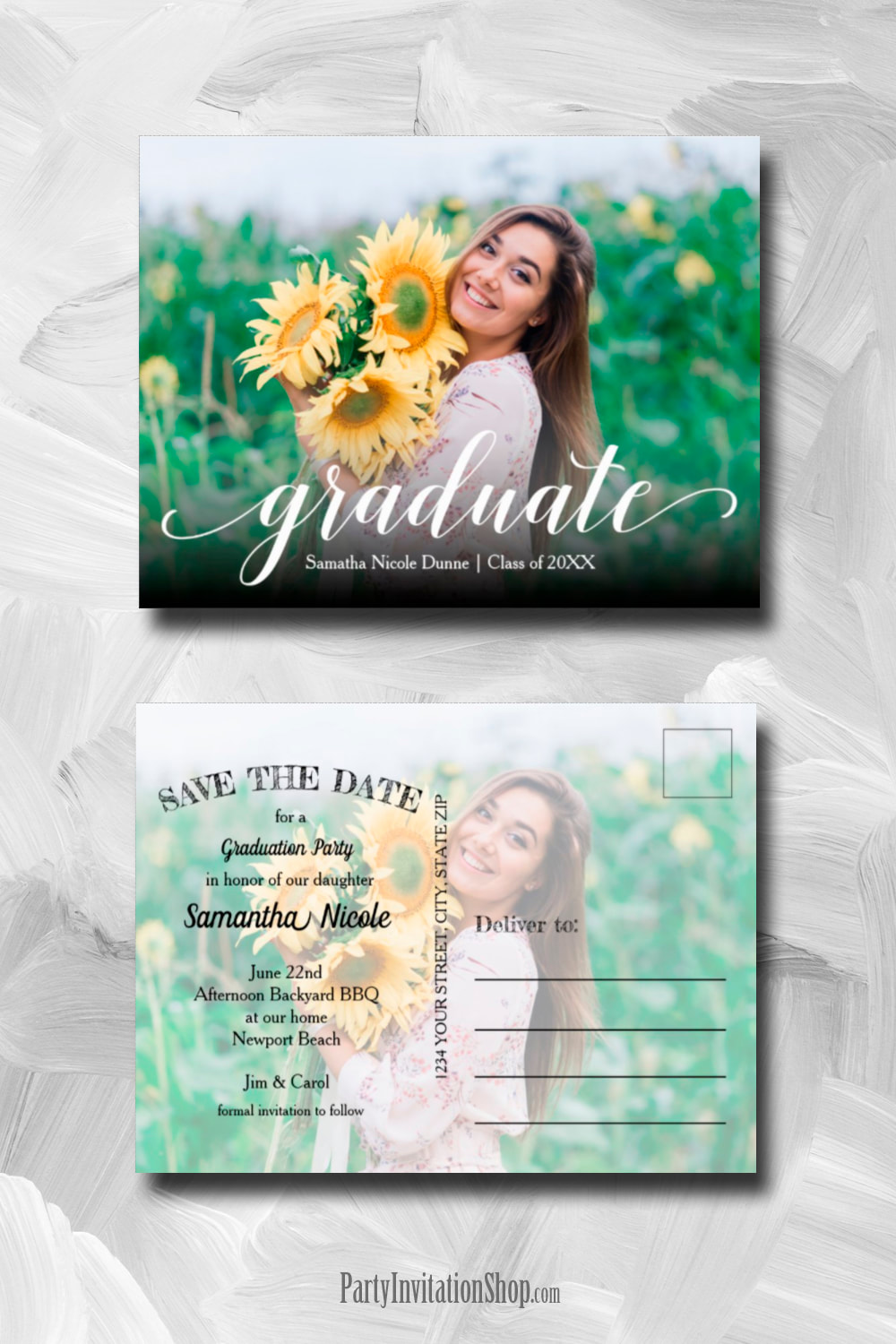 Cool Text Photo Graduation Save the Date Postcards