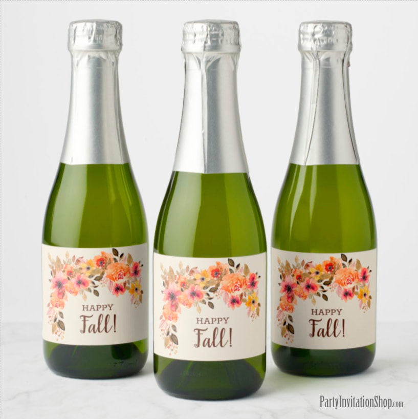 Happy Fall Mini Champagne Labels Personalized