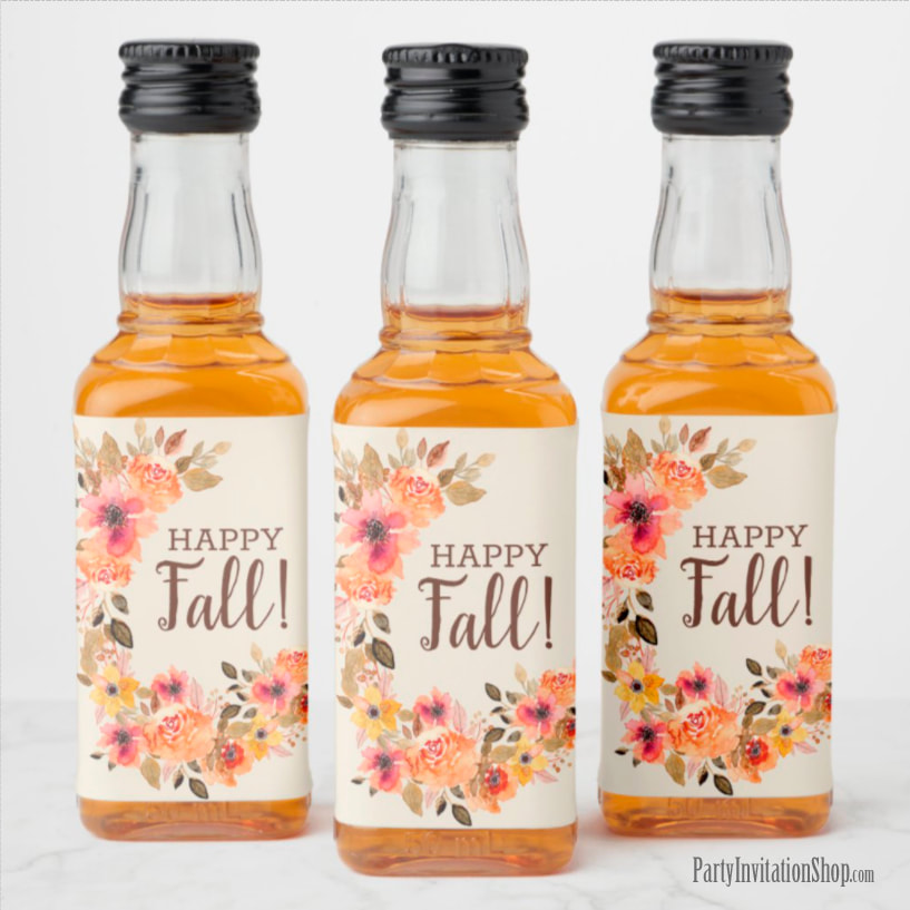Mini Liquor Bottle Happy Fall Labels Personalized