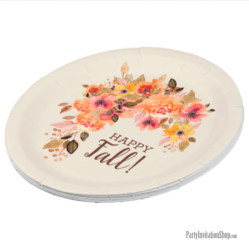 Happy Fall Floral Plates