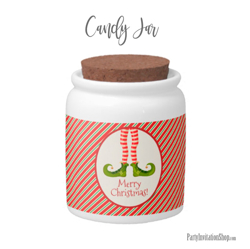 Candy Jar with Jolly Christmas Elf Legs at PartyInvitationShop.com