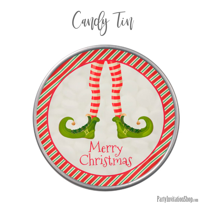 Candy Tin with Jolly Christmas Elf Legs at PartyInvitationShop.com