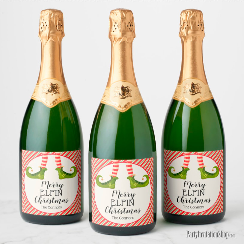 Champagne Bottle Labels - PERSONALIZED - Jolly Christmas Elf Legs at PartyInvitationShop.com
